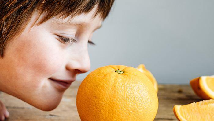boy smelling an orange